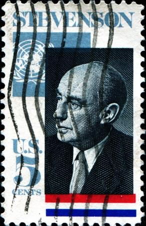 un used: USA - CIRCA 1965  A stamp printed in United States of America shows Adlai E  Stevenson II  1900-1965 , Governor of Illinois, US Ambassador to the UN, 1961-65, circa 1965