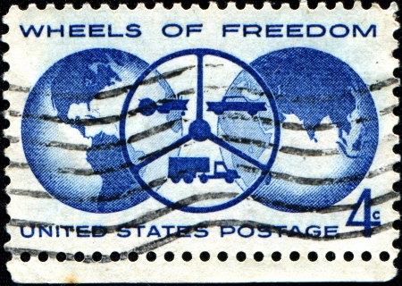 l first: USA - CIRCA 1960  A stamp printed in United States of America shows dedicated to The Freedom Wheels Program is an initiative set up by the Technical Aid to the Disabled  TAD  organization with disabilities modified bikes, circa 1960
