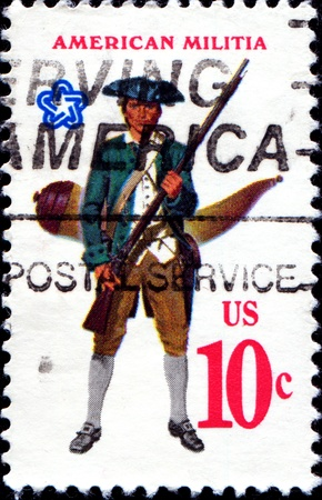 USA - CIRCA 1975  A stamp printed in United States of America shows Military uniform of the American Continental Militia  Militiaman with musket and powder horn, circa 1975
