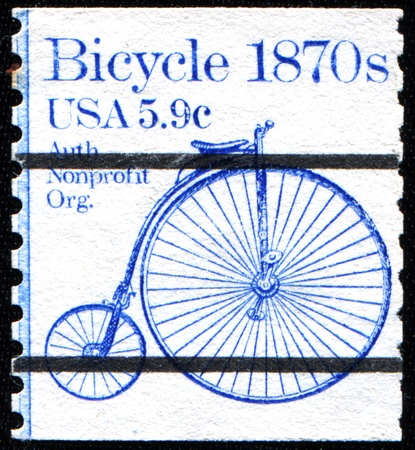 USA - CIRCA 1982  A stamp printed in United States of America shows  Bicycle, 1870s, circa 1982