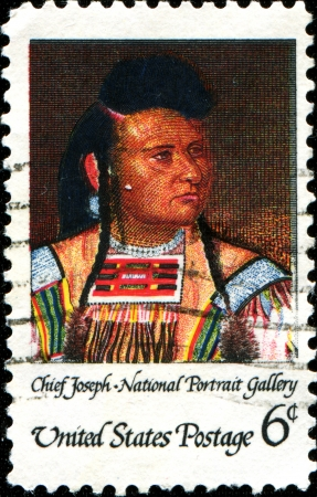 USA - CIRCA 1968  A stamp printed in United States of America shows Chief Joseph,  Leader of the Nez Perce Tribe, National Portrait Gallery,  circa 1968