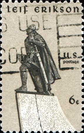 erikson: USA - CIRCA 1968  A stamp printed in United States of America shows statue of Leif Erikson Norse explorer, by Stirling Calder, circa 1968
