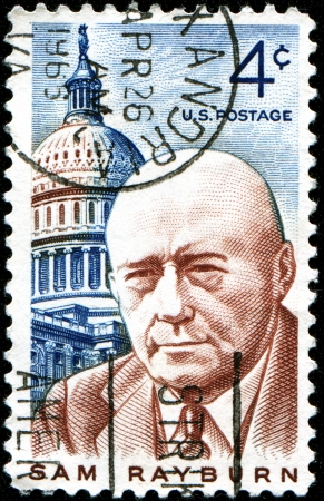 USA - CIRCA 1962  A stamp printed in United States of America shows Sam Rayburn, lawmaker and Democratic speaker of the US House of representatives, circa 1962