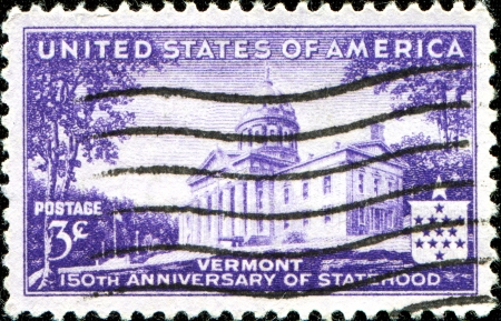 statehood: USA - CIRCA 1941  A stamp printed in United States of America shows 150th Anniversary of Vermont Statehood , circa 1941