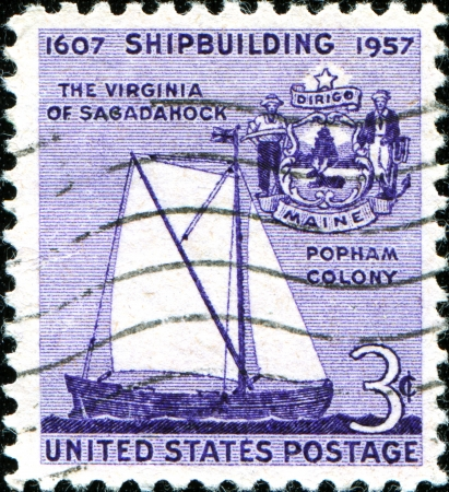 USA - CIRCA 1957  A stamp printed in United States of America shows Virginia of Sagadahoc and Seal of Maine, 350th anniversary of shipbuilding in America, circa 1957  Stock Photo - 18799023
