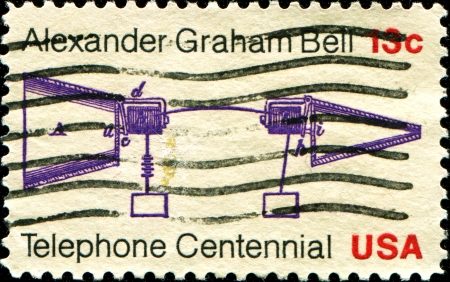 USA - CIRCA 1976  A stamp printed in United States of America shows Alexander Graham Bell Telephone Patent Application, Telephone Centenary Issue, circa 1976