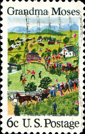 USA - CIRCA 1969  A stamp printed in United States of America shows July Fourth, by Grandma Moses  1860-1961 , primitive painter of American life, circa 1969  Stock Photo - 18798845