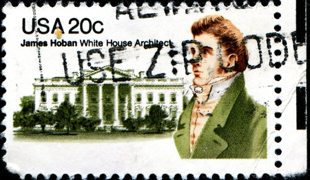 the irish image collection: USA - CIRCA 1981  A stamp printed in United States of America shows James Hoban  1758-1831 , Irish-American Architect of White House, circa 1981  Editorial