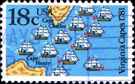 capes: USA - CIRCA 1981: A stamp printed in United States of America shows Virginia Capes 1781, circa 1981  Editorial