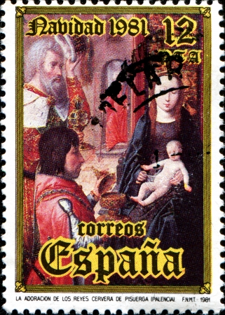 SPAIN - CIRCA 1981: A stamp printed in  Spain shows Adoration of the Kings, Cervera de Pisuerga, Palencia, Christmas, circa 1981  Stock Photo - 18799001