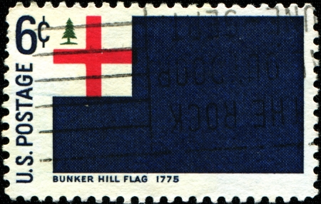 USA - CIRCA 1975  A stamp printed in United States of America shows Bunker Hill flag, 1775, circa 1975 Stock Photo