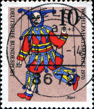 GERMANY - CIRCA 1970  A stamp printed in German Federal Republic shows Jester, circa 1970
