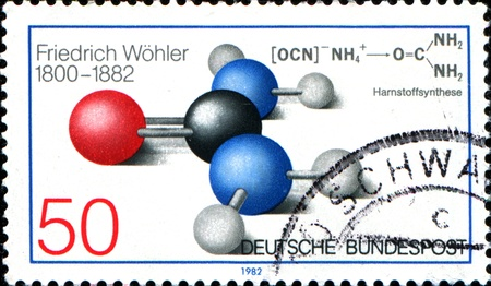 urea: GERMANY - CIRCA 1984  A stamp printed in German Federal Republic depicts for Death Centenary of Friedrich Wohler  chemist , shows Atomic Model of Urea, circa 1984