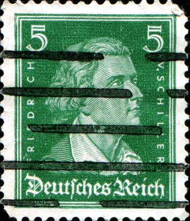 GERMANY - CIRCA 1926  A stamp printed in Germany shows German poet, philosopher, historian, and playwright Johann Christoph Friedrich von Schiller, circa 1926  Stock Photo - 18798982
