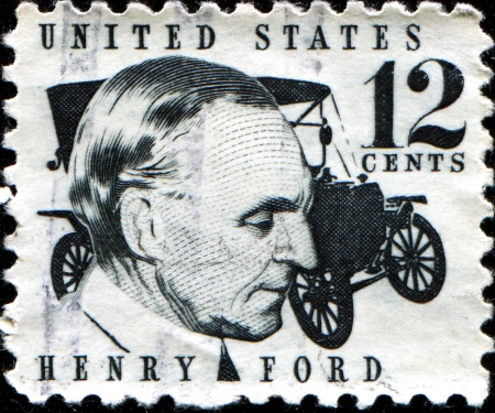 henry: USA - CIRCA 1968  A stamp printed in United States of America shows Henry Ford  1863-1947  and car Ford Model T from 1909, circa 1968
