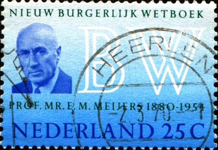 orange nassau: NETHERLANDS - CIRCA 1970  A stamp printed in the Netherlands issued for the introduction of New Netherlands Civil Code shows Professor Eduard M  Meijers  author of Burgerlijk Wetboek , circa 1970