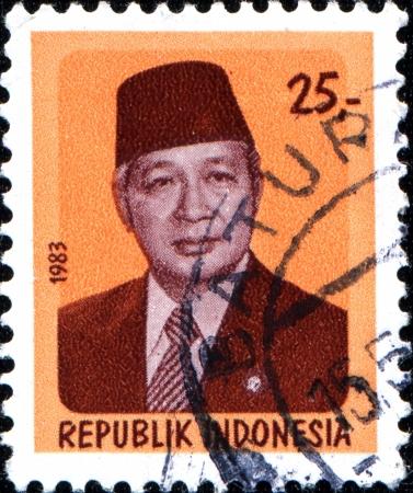 sukarno: INDONESIA - CIRCA 1983  A stamp printed in Indonesia shows President Sukarno  1901-1970 , circa 1983 Editorial