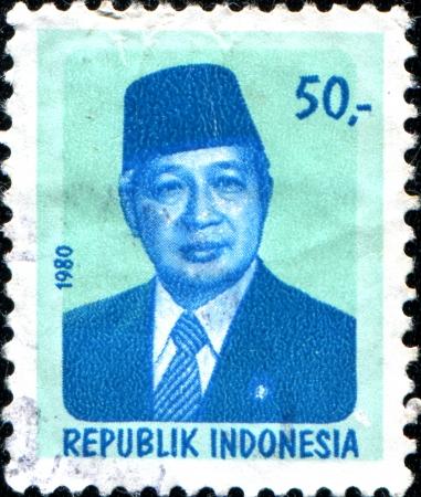 sukarno: INDONESIA - CIRCA 1980  A stamp printed in Indonesia shows President Sukarno  1901-1970 , circa 1980