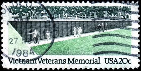 USA - CIRCA 1984  A stamp printed in United States of America shows Vietnam veterans memorial, circa 1984