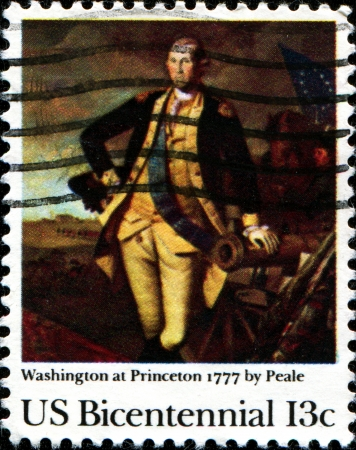 USA - CIRCA 1977  A stamp printed in United States of America shows draw   Washington at Princeton, 1777 by Peale, circa 1977