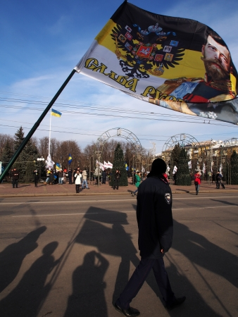 annversary: UKRAINE, LUGANSK - JANUARY 12, 2014: Religious procession dedicated to the 380th anniversary of Pereyaslavska Radaon the street of city