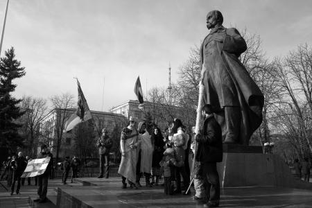 maidan: UKRAINE, LUGANSK - JANUARY 12, 2014: Opposition rally in the center of Lugansk near the monument of Ukranian peoet Taras Shevchenko
