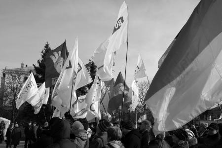 lugansk: UKRAINE, LUGANSK - JANUARY 12, 2014: Opposition rally in the center of Lugansk near the monument of Ukranian peoet Taras Shevchenko