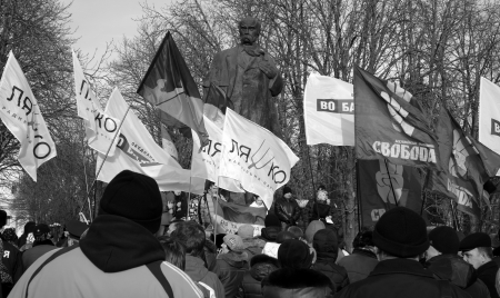 UKRAINE, LUGANSK - JANUARY 12, 2014: Opposition rally in the center of Lugansk near the monument of Ukranian peoet Taras Shevchenko