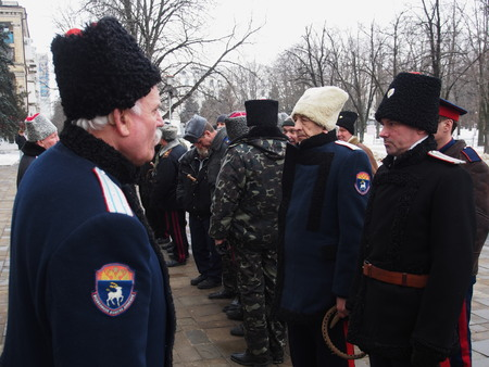 policing: UKRAINE, LUGANSK - February 9, 2013  Participants in various Cossack associations and clubs Lugansk offered their services to local authorities on policing in the city This proposal was accepted with gratitude  Before the start of the traditional Sunday a Editorial