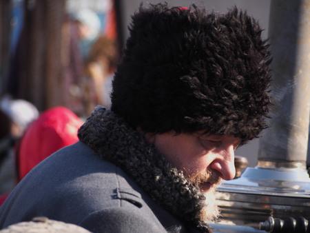 cossacks: UKRAINE, LUGANSK - March 1, 2014: Cossacks traditionally celebrate Shrovetide, or the Carnival