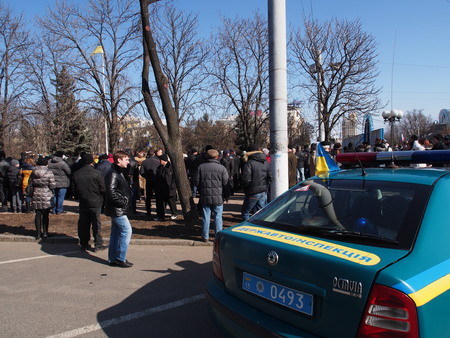 cossacks: UKRAINE, LUGANSK - March 1, 2014:    In what was supposed to be an old regime rally in Lugansk against anarchy and disorder turned into a rally to support the Russian occupation of Crimea.  About ten thousand supporters of the Party of Regions and state