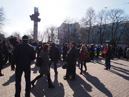 clearly: UKRAINE, LUGANSK - March 1, 2014: Euromaidan activists evaluate events in the Crimea clearly this is the occupation of the country by Russian military forces. They took to the center of Lugansk with slogans, demanding from Vladimir Putin to stop the aggre
