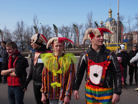 end times: UKRAINE, LUGANSK - March 1, 2014  Maslenitsa or Pancake Week is the only purely Slavic Holiday that dates back to the pagan times  This is the celebration of the imminent end of the winter which the Orthodox Church has accommodated as a week of feasting b