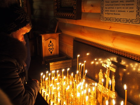 shrove: UKRAINE, LUGANSK - March 2, 2014  Orthodox and Greek Catholics in Ukraine celebrate Shrove Sunday  However churches are conducting solemn services prevrtilas in joint prayer for peace in the country