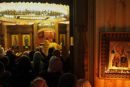 however: UKRAINE, LUGANSK - March 2, 2014  Orthodox and Greek Catholics in Ukraine celebrate Shrove Sunday  However churches are conducting solemn services prevrtilas in joint prayer for peace in the country