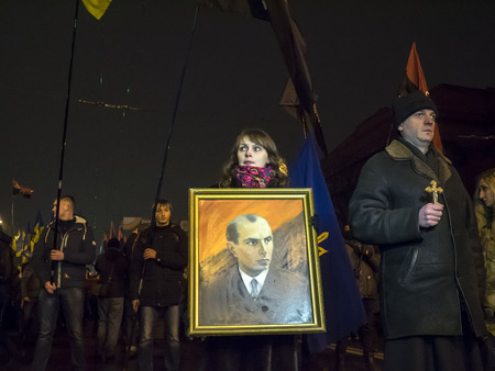 extremist: Kyiv, January 1, 2015. The torchlight procession in honor of the birthday of Stepan Bandera was held in the city center. It was attended by about four thousand people - more than two times less than a year ago. In the march was attended by two parties -