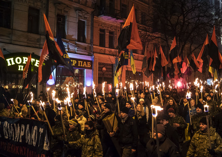 extremist: Kiev, January 1, 2015. The torchlight procession in honor of the birthday of Stepan Bandera was held in the city center. It was attended by about four thousand people - more than two times less than a year ago. In the march was attended by two parties -