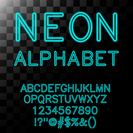 Neon alfabet in cyaan kleur. Stock Illustratie