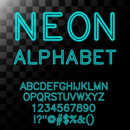 neon alphabet: Neon alphabet in cyan color.