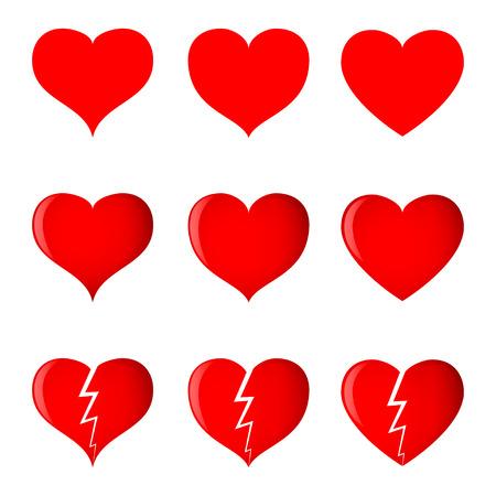 corazon roto: Corazones (simples, sombreadas y rotos) en 3 formas diferentes. Vectores