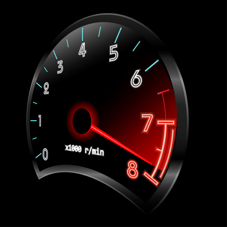 rev counter: Tachometer 3D (revolution-counter , RPM gauge).