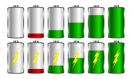 Battery charging. Used for mobile applications, infographics, web design.