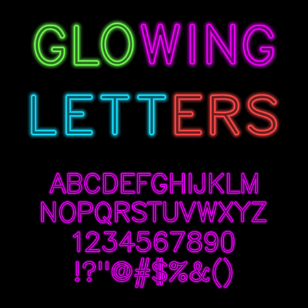 Gloeiende alfabet neon gloed lettertype. Vector illustratie. Stock Illustratie