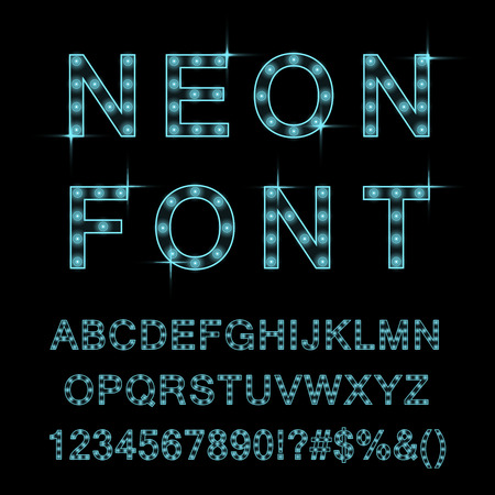 Neon lamp font, cyan color. Vector design.