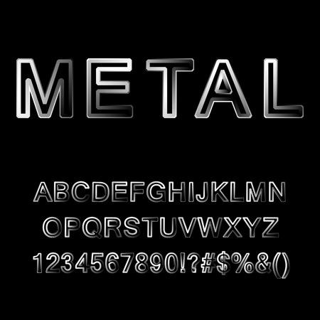 Metallic letters. Vector illustration.