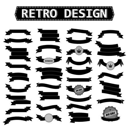 Retro lint set zwart. Vector illustratie. Stock Illustratie