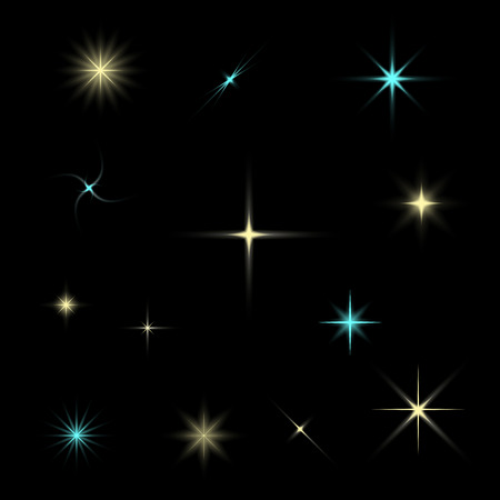 Sparkling stars collection isolated on a black background . Vector illustration .