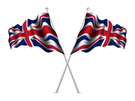 United Kingdom flags waving. Vector illustration. Stock Illustratie