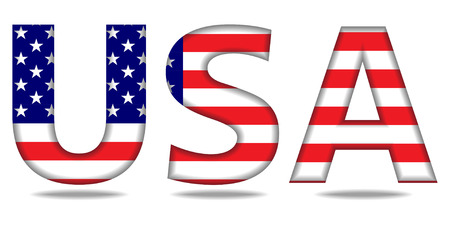 Usa letters with american flag texture. Vector illustration.