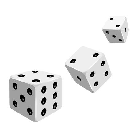 Set of white dices. Vector illustration. Stock Illustratie